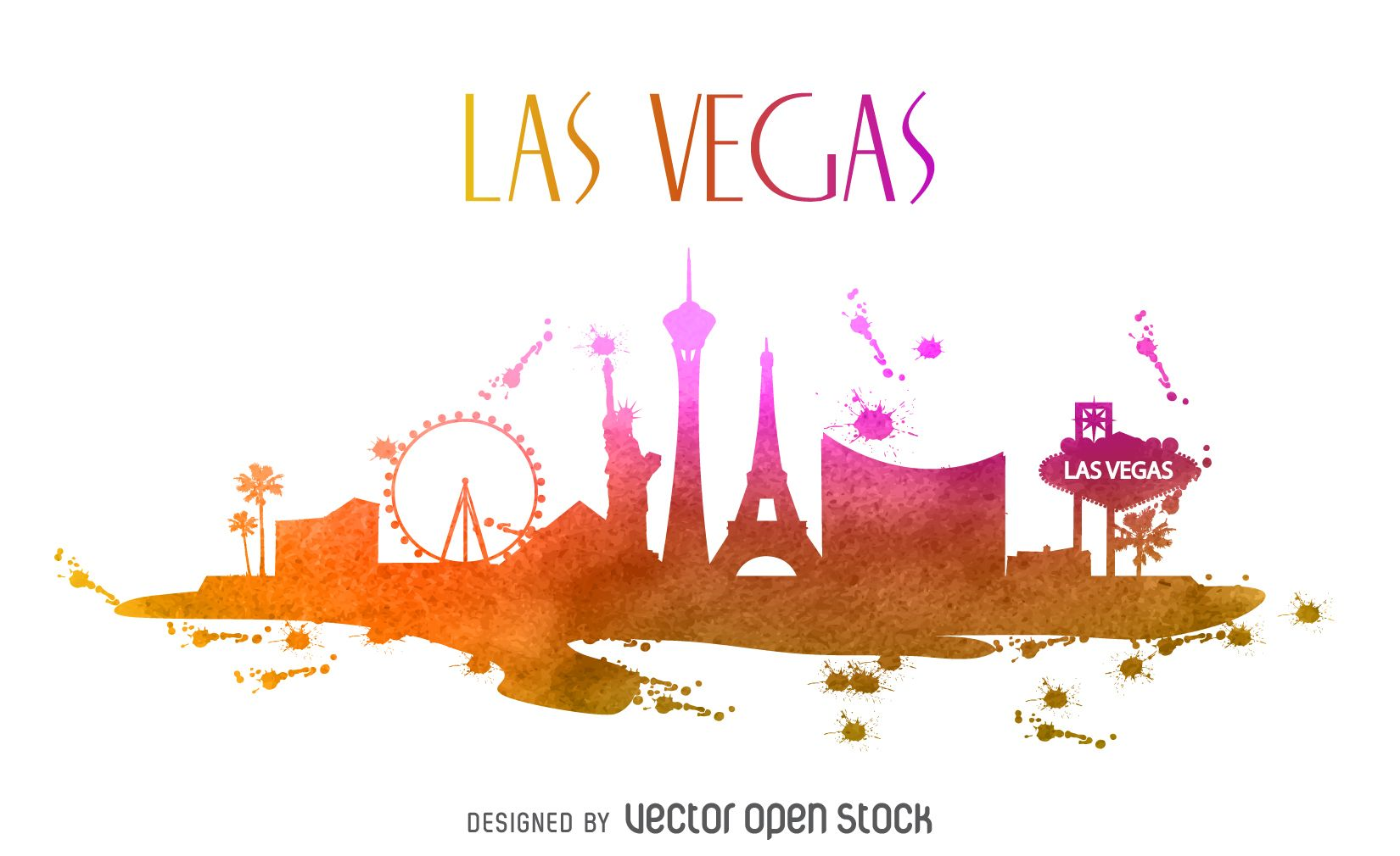 Watercolor drawing that features the las vegas skyline for Las vegas skyline tattoo