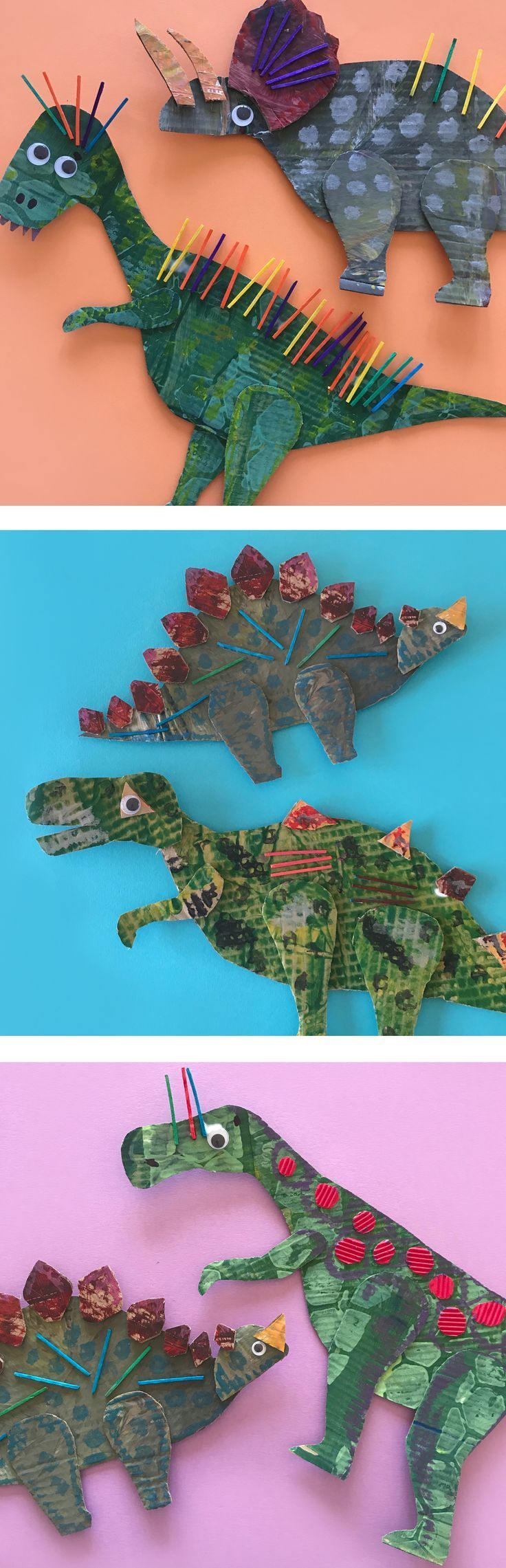 Make these ROAR-some dinosaurs with your kids! For lots of fun kids craft activities visit the Mini Mad Things website. #dinosaur