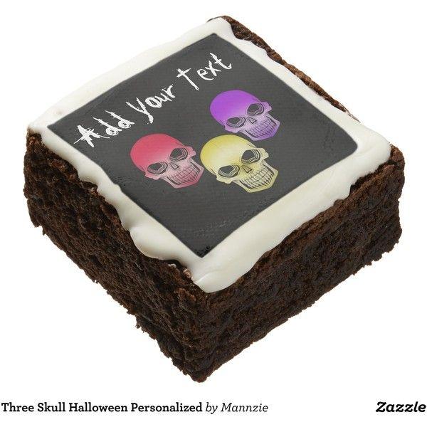 Three Skull Halloween Personalized Chocolate Brownie (£35) ❤ liked