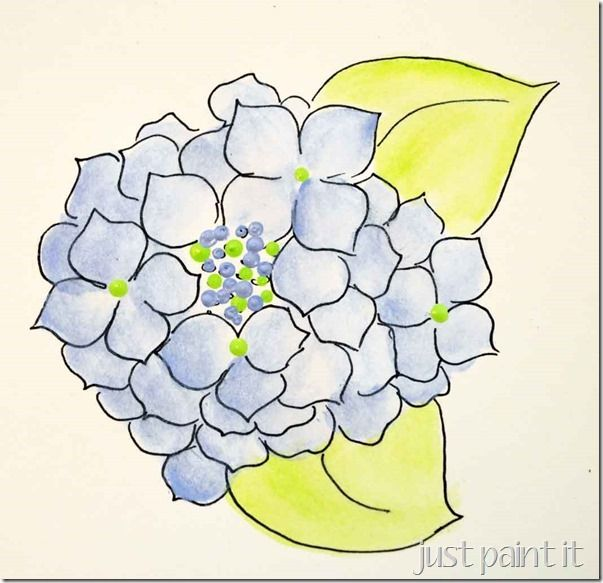 Paint Hydrangea Free Printables Just Paint It Blog Flower Painting Watercolor Flowers Painting