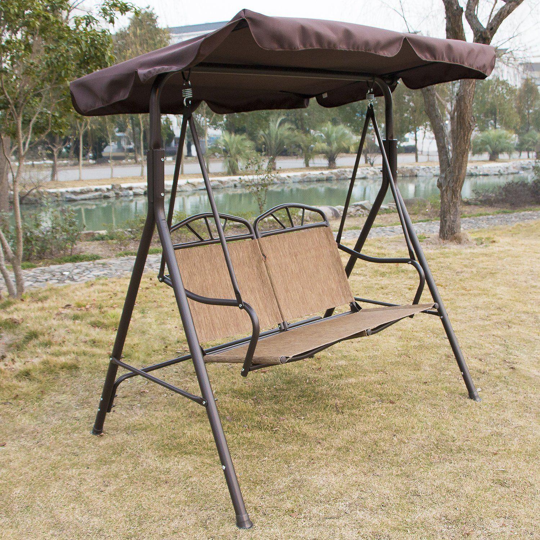 amazon com walcut 2 person new canopy covered swing glider hammock