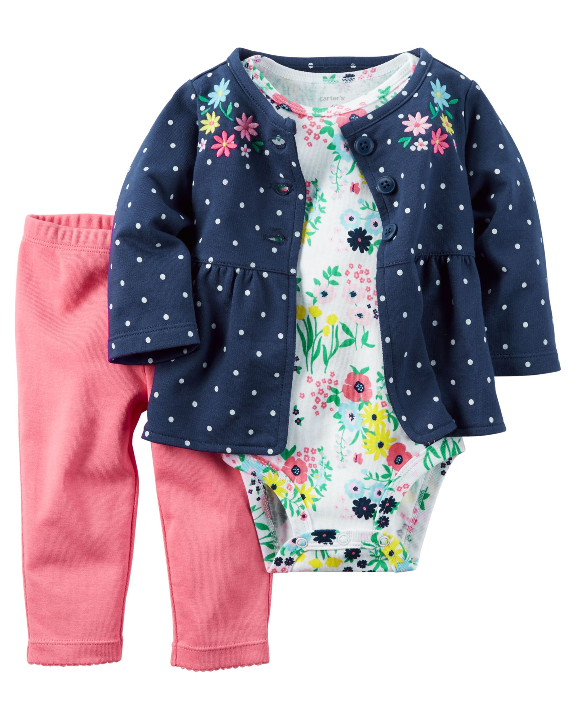 Baby Girl Clothes Newborn Clothing Set Cardigan Shawl/&Bodysuit Dress Flower Embroidery