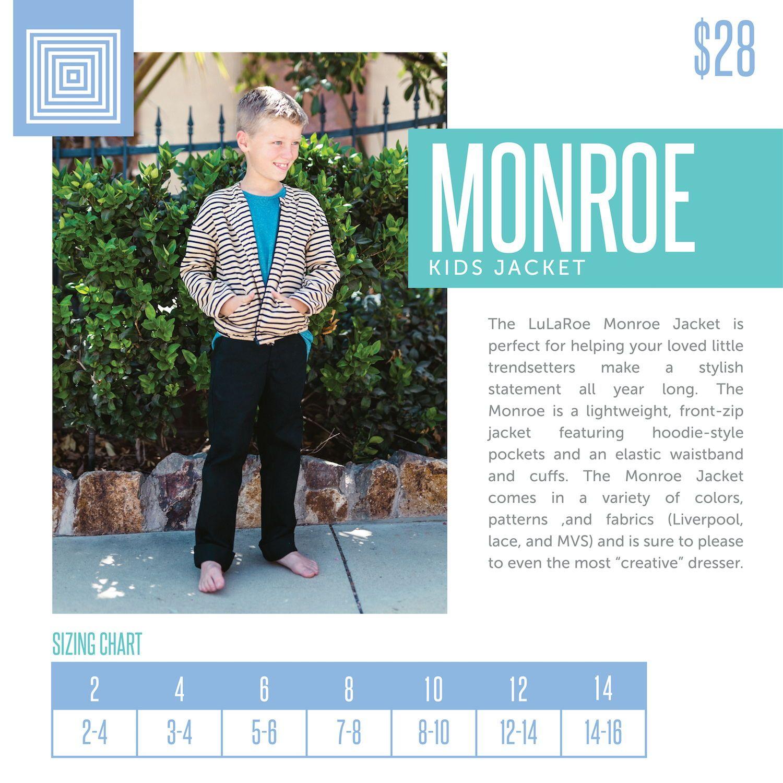 Kids LuLaRoe Monroe Jacket Layering Piece Size Chart