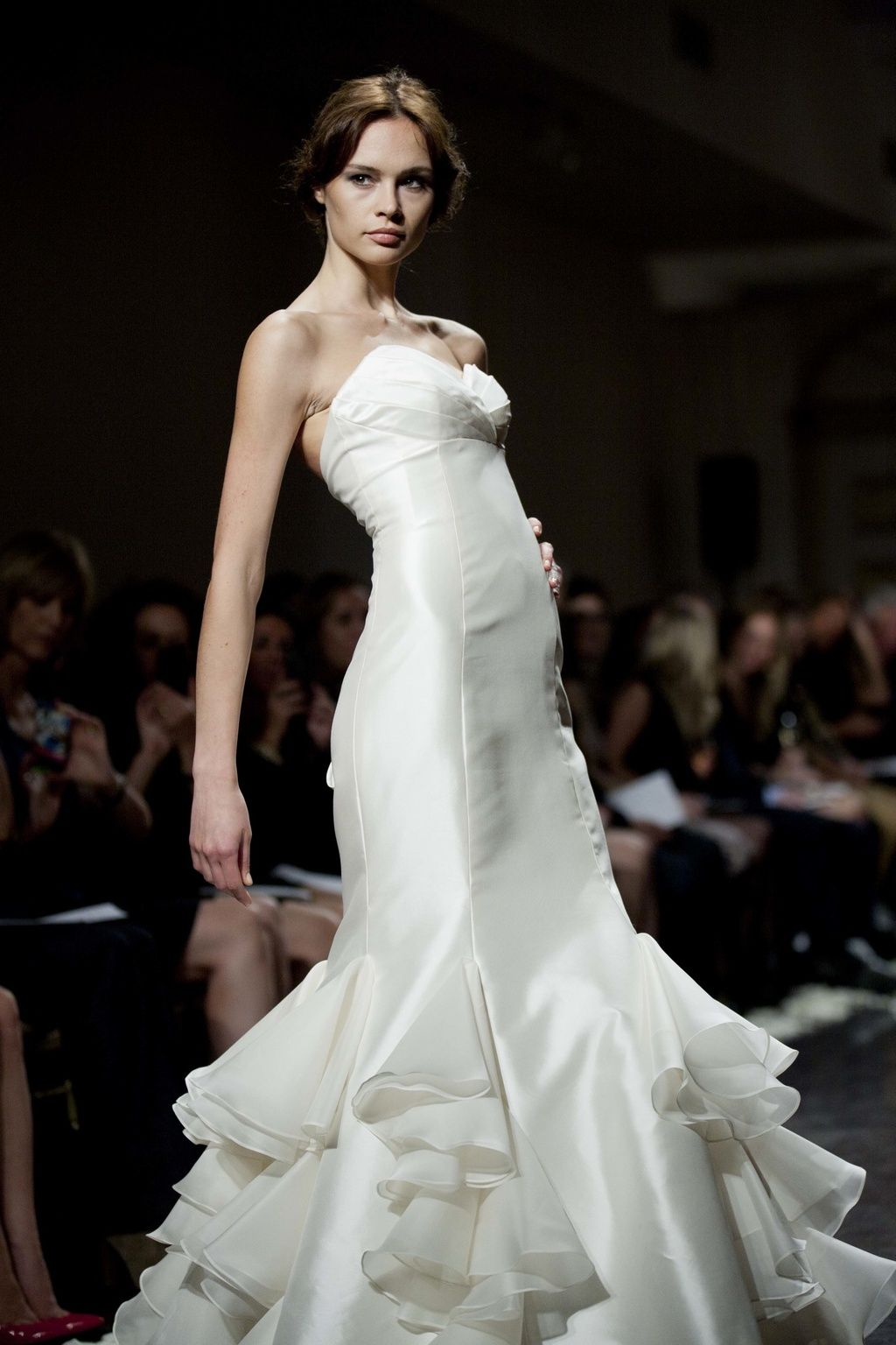Mermaid ruffle wedding dress  Weddingdresslazarofallbridalgownssleekmermaidruffles