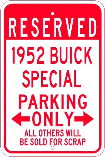 1952 52 CHEVY  Parking Sign