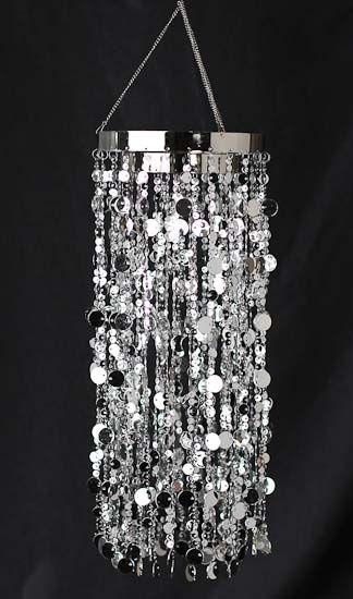 Silver metallic decorative hanging chandelier pearl spools silver metallic decorative hanging chandelier pearl spools bead garlands wedding decorations wedding aloadofball Gallery