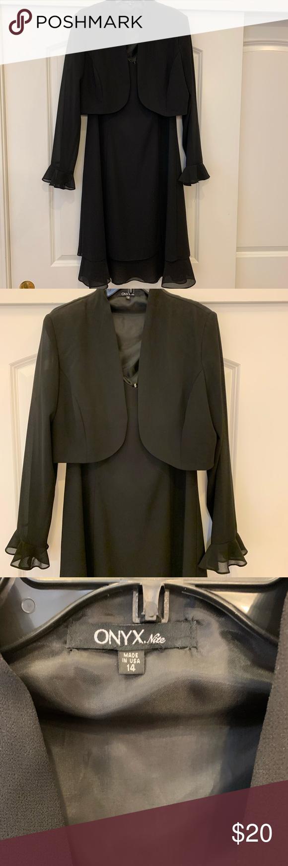 Women S Onyx Size 14 Black Dress With Jacket In 2020 Black Dress Size 14 Black Party Dresses Jacket Dress [ 1740 x 580 Pixel ]