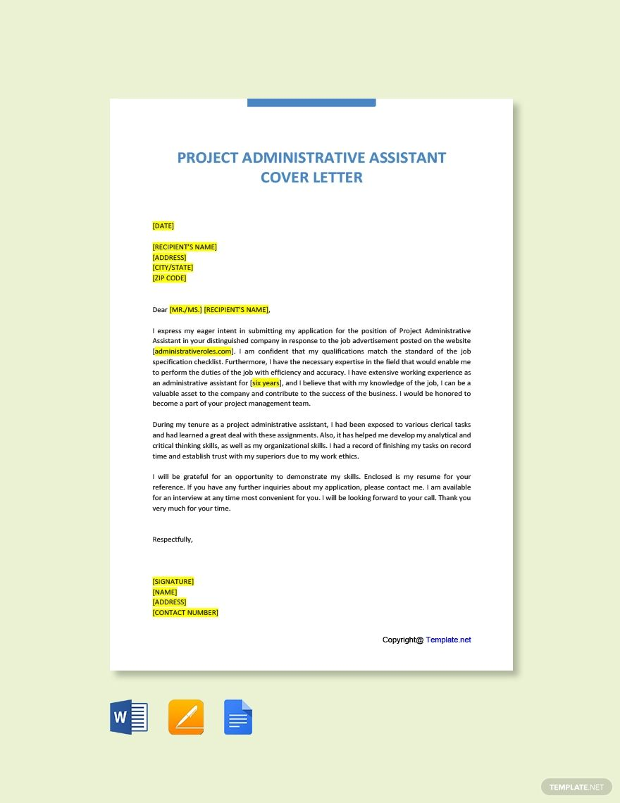 FREE Project Administrative Assistant Cover Letter