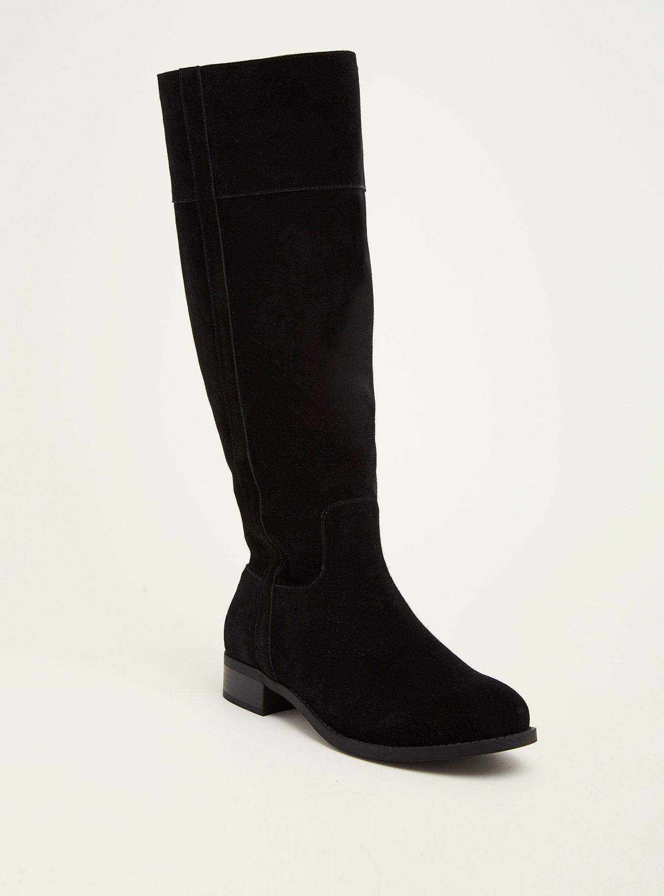 Black Genuine Suede Pull Tab Knee-High