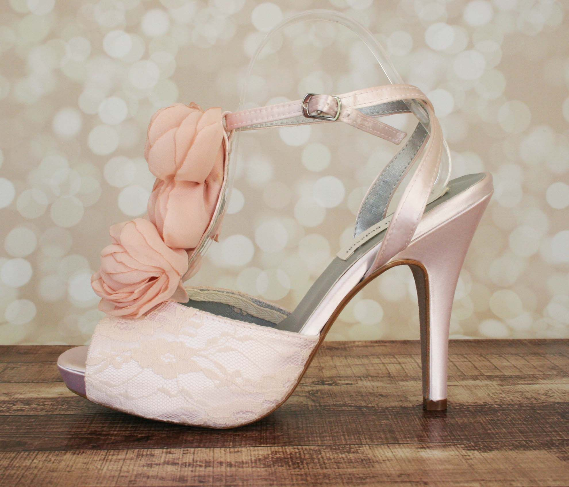 1b5d1a30f24 Blush Platform Peep Toe T-Strap Custom Wedding Shoes with Lace Overlay and  Chiffon Flower Accents by Ellie Wren