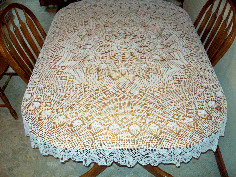 Mantel tejido a crochet en forma oblonga manosalaobratv - Mantel de crochet ...