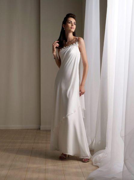 Bonny One Shoulder Beading Chiffon Satin Ankle Length Beach Bridal Gown