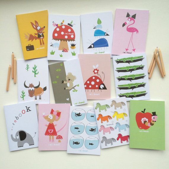 Childrens character notebook party bag filler mini notebook childrens gift a6 notebook party or wedding favour eco printed uk seller