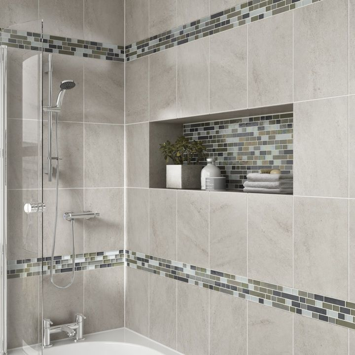 Master bath tile not going through the cubby details photo features castle rock  wall with glass horizons arctic blend random mosaic as  also  like towel older right outside shower bathroom remodeling