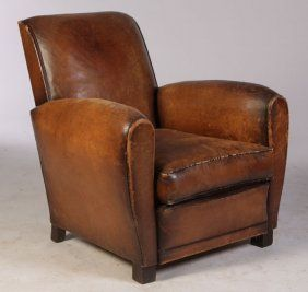 FRENCH LEATHER CLUB CHAIR ORIGINAL LEATHER : Lot 977
