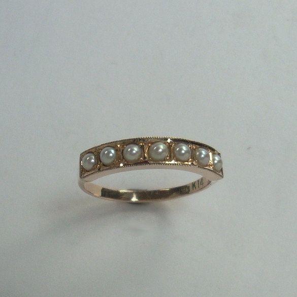 Vintage Wedding Band Ring 14k Rose Gold Pearl