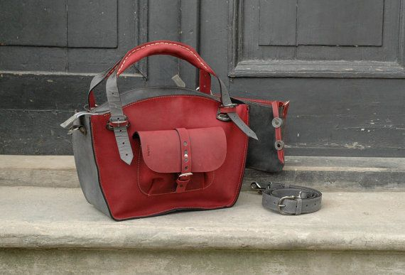 e0a82c69d79b3b Handmade leather Kuferek bag in colors - raspberry, grey To proceed your  order please choice - the size of your bag - and type of handles.