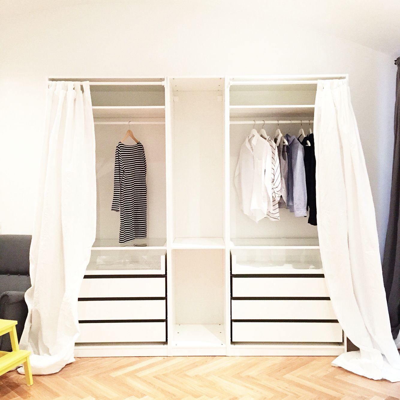 kleiderschrank pax mit vorhang anstatt türen | garderobenideen ... - Ikea Schlafzimmer Schrank