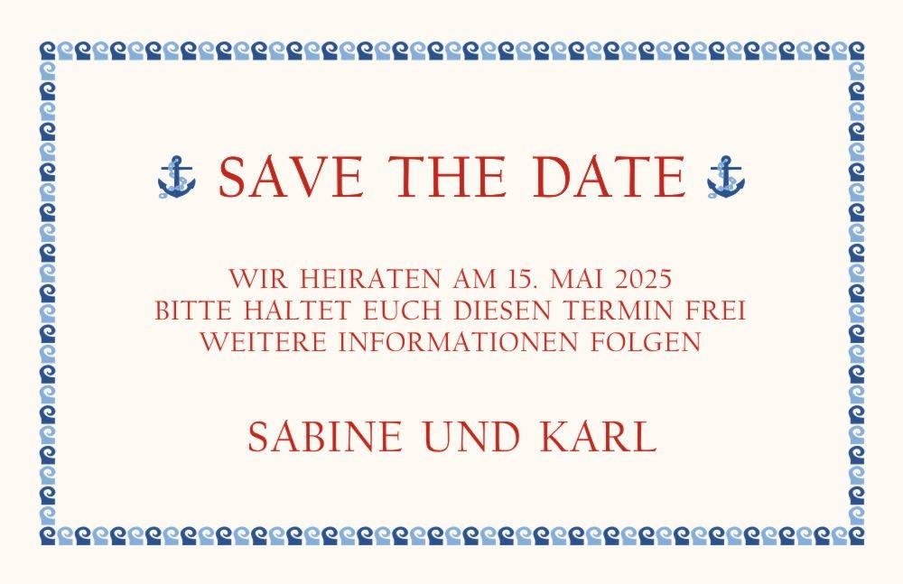 Maritime Hochzeits Save the Date Karte mit Anker Symbol im