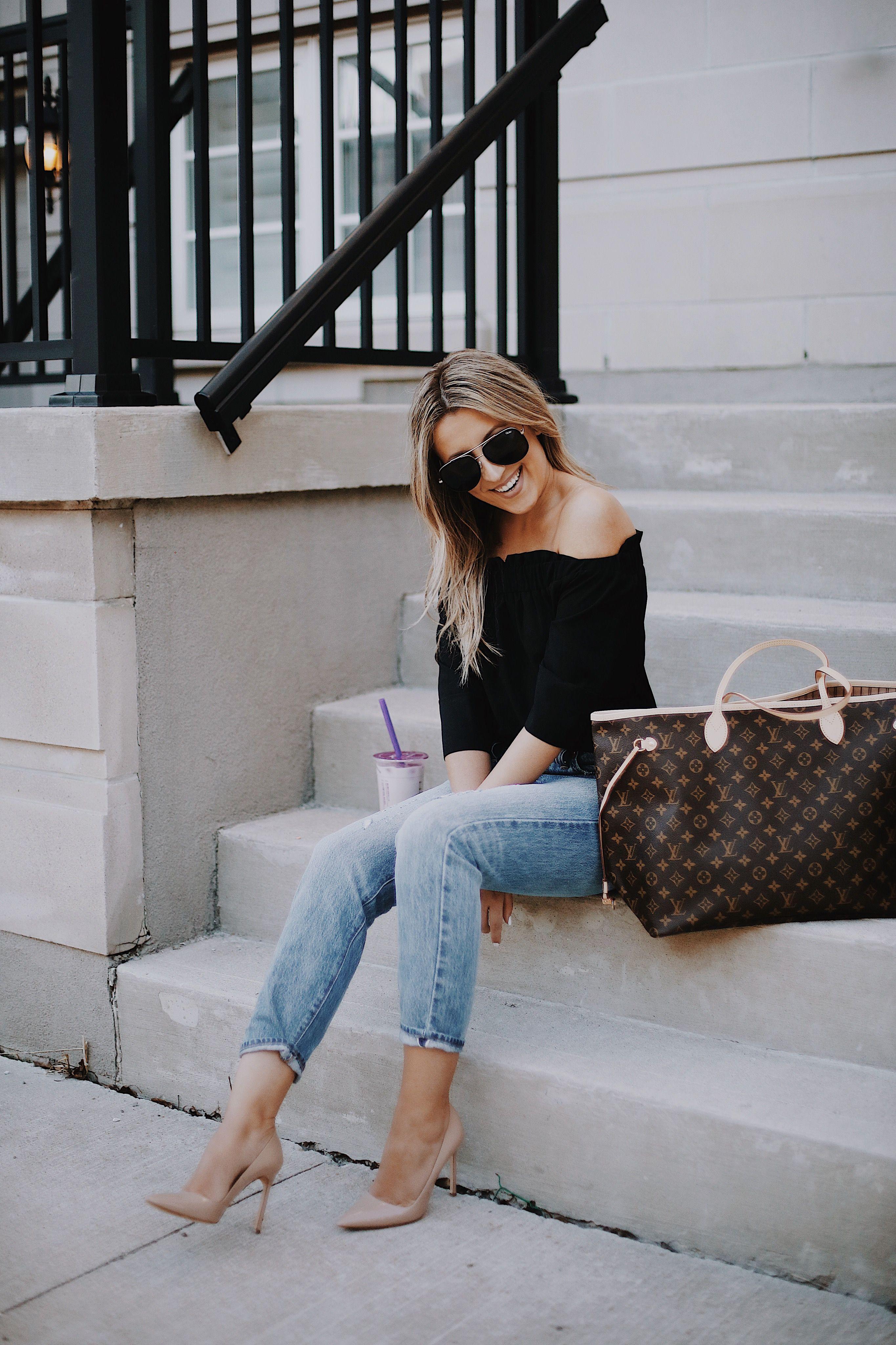 Rachel Roy Top, Levi's Jeans, Manolo Blahnik Pumps, Louis Vuitton Neverfull