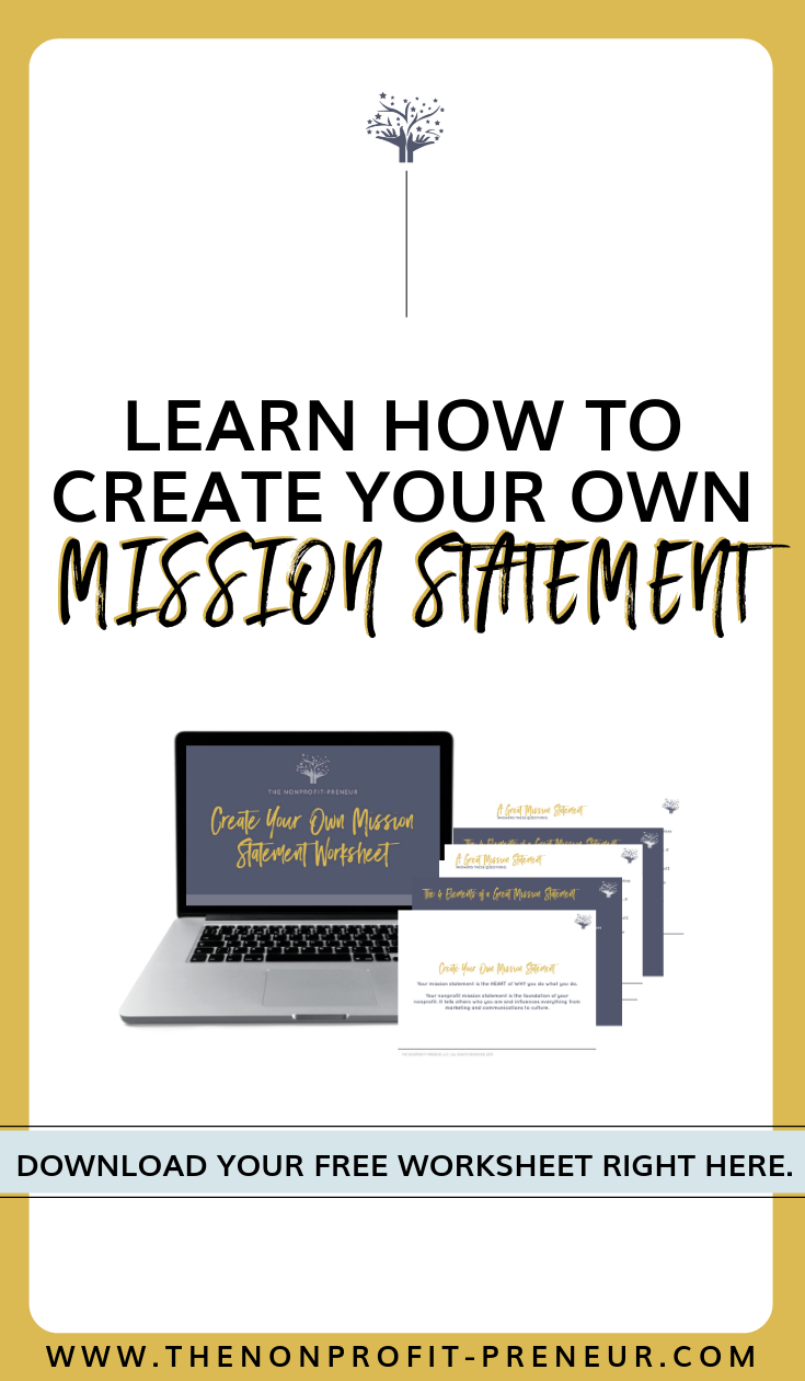 Free Worksheet Create Your Own Mission Statement For Nonprofit Organizations Worksheets Free Nonprofit Marketing Nonprofit Startup