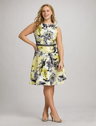 b61d1b811b Plus Size Yellow Floral Fit-and-Flare Dress