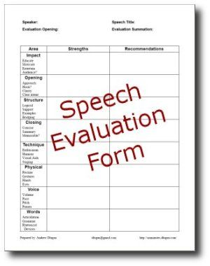 Free Speech Evaluation Form Is Provided, As Well As Other Speaker Evaluation  Tools And Presentation Resources.