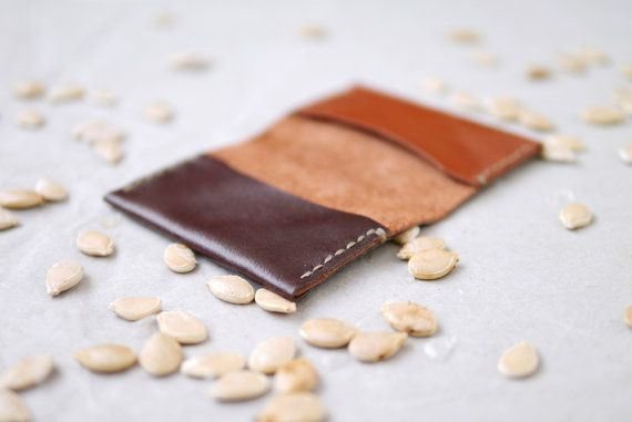 Leather Cardholder hand stitched foldover in tan & by smallqueue