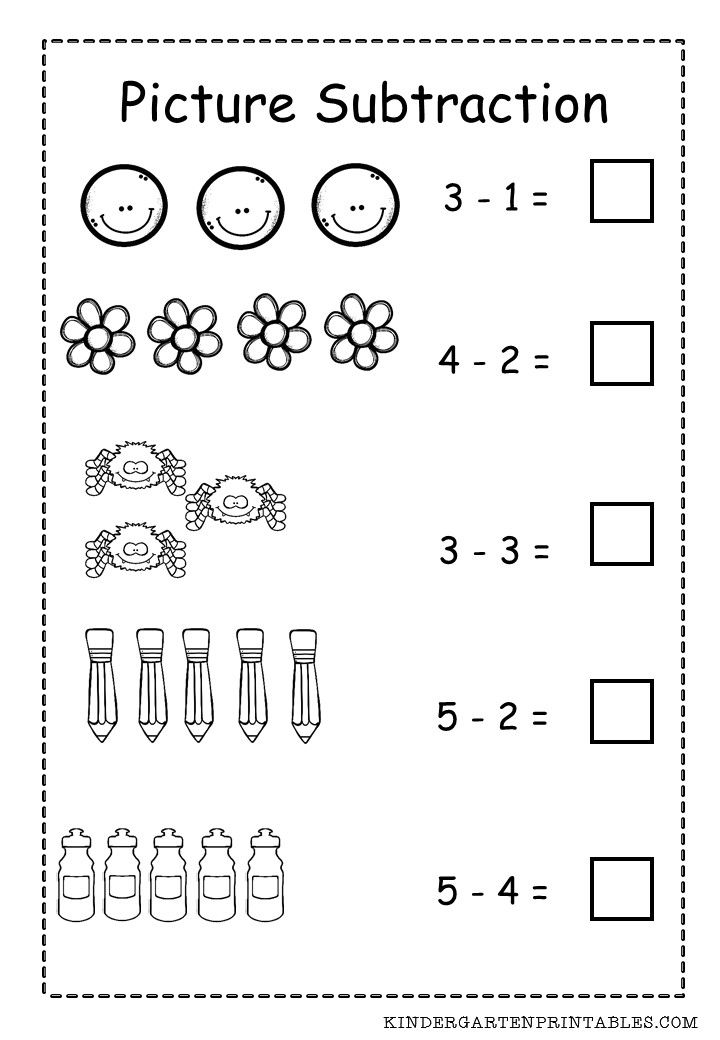 Subtraction Worksheets For Kindergarten Printable Free