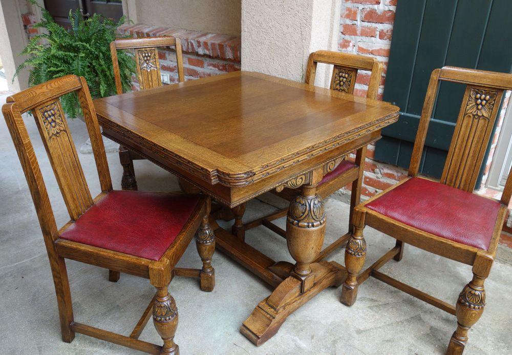 Set Antique English Carved Tiger Oak Draw Leaf Dining Table W 4