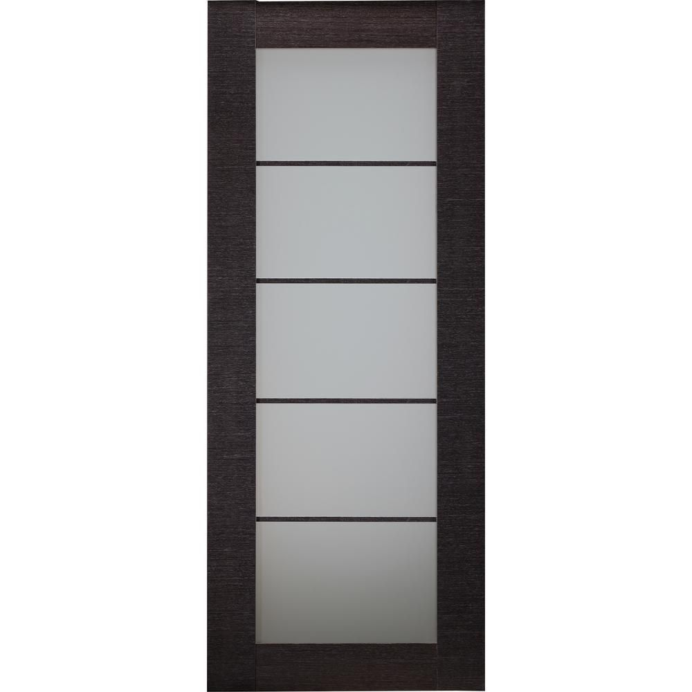 Belldinni 32 In X 80 In Avanti Black Apricot Finished Solid Core Wood 5 Lite Frosted Glass I In 2020 Glass Doors Interior Frosted Glass Interior Doors Doors Interior