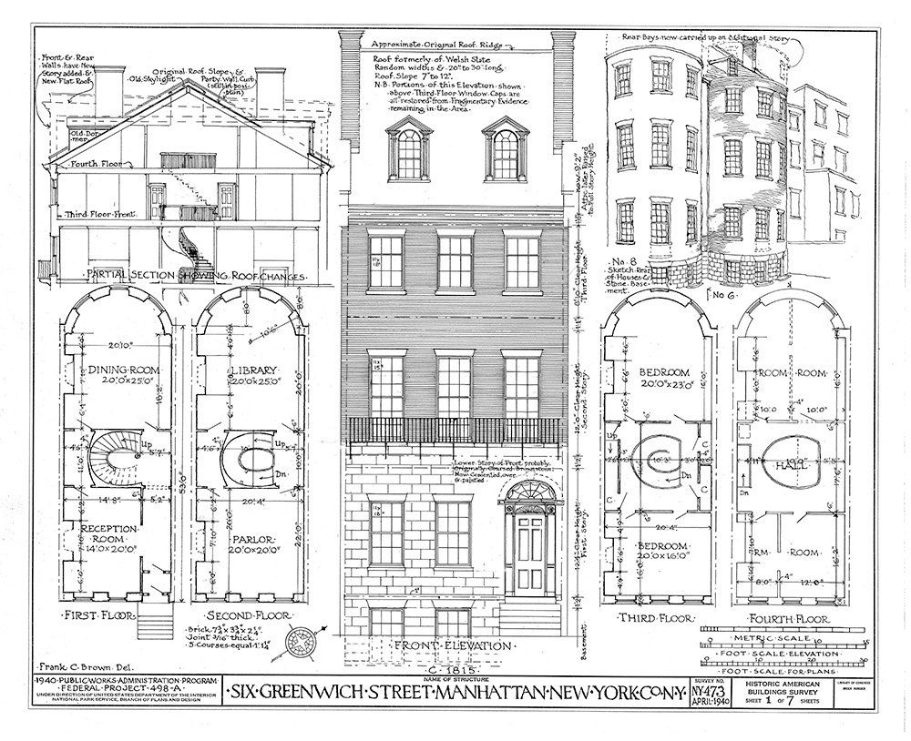 Greenwich Street Manhattan Ny Architectural Print Blueprint