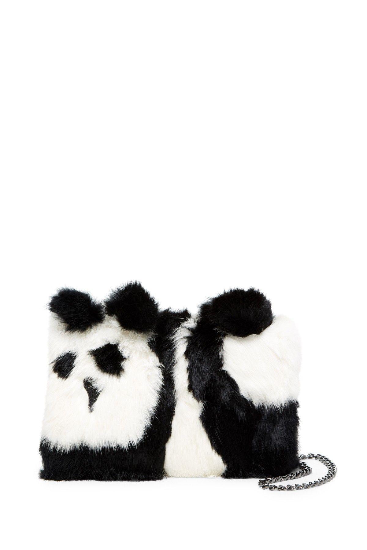 Genuine Rabbit Fur Panda Muff Shoulder Bag