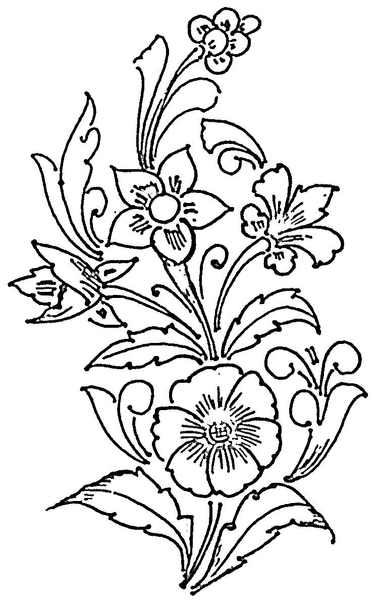 Glass Painting Patterns Flower Design With Four Floral Patterns