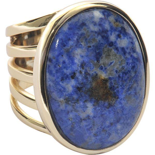 Isharya Golden ring with blue lapis lazuli (735 SEK) found on Polyvore