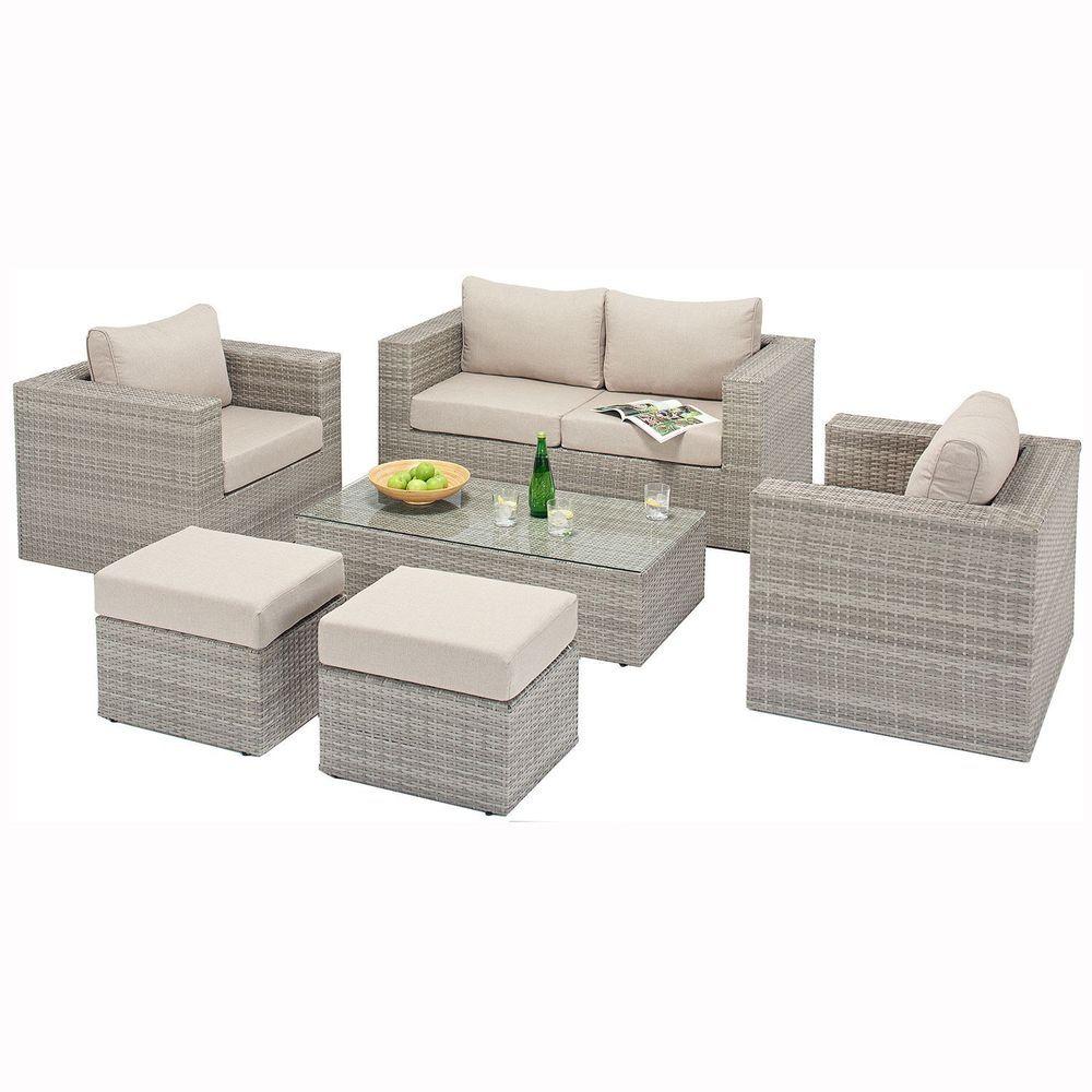 Garden Rattan Sofa Set Armchair Footstool Aluminum Frame Outdoor