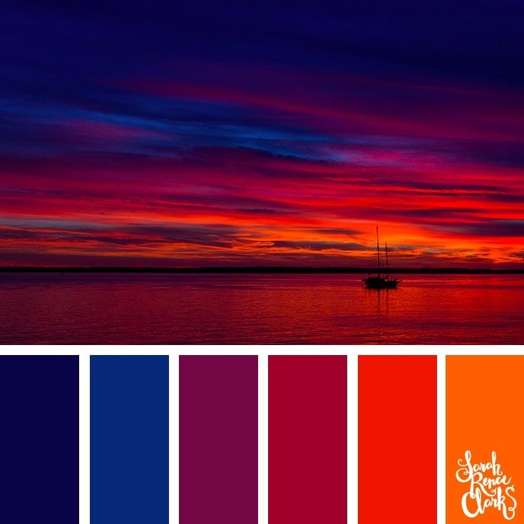 Colorful Sunset // The sky is such an amazing canvas! Enjoy these color combinations inspired by spectacular skies and Classic Blue - PANTONE's 2020 Color of the Year. Check out these 25 color palettes inspired by Classic Blue and other beautiful skies at www.sarahrenaeclark.com #color #colorinspiration #colorpalette