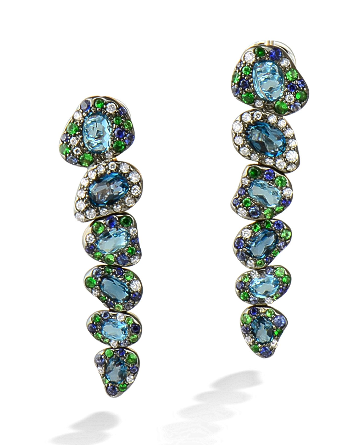 eff54f990 'Via Roma' drop earrings by Rodney Rayner. 18karat rose gold set with  diamonds, sapphires, tsavorite garnets and blue topaz.