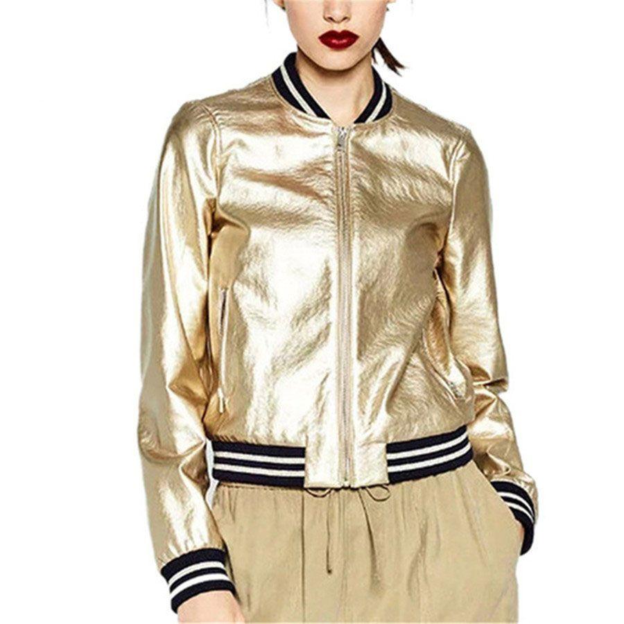 479b6e0148 2017 Runway Brand Designer Sliver Gold Bomber Jacket Women Basic ...
