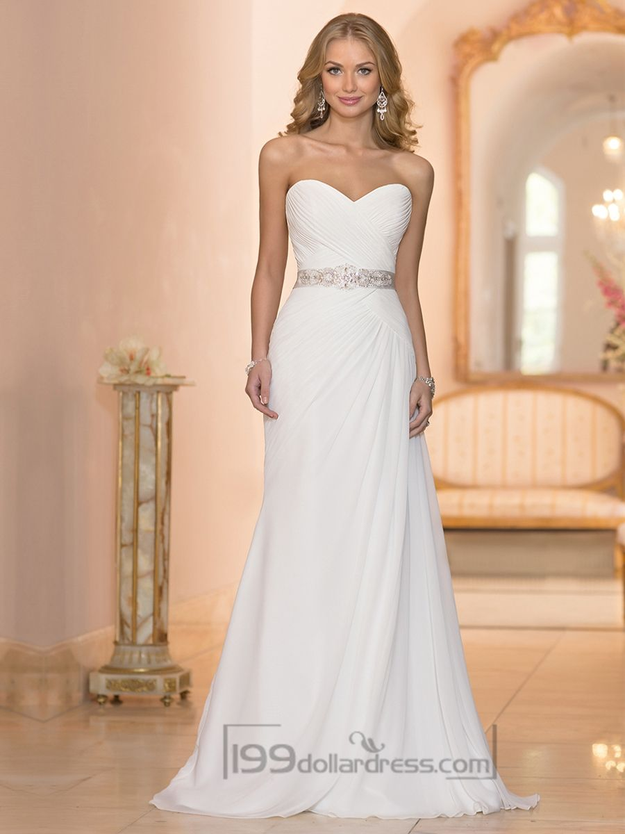 Chiffon sheath criss cross sweetheart ruched bodice for Sweetheart neckline ruched bodice wedding dress