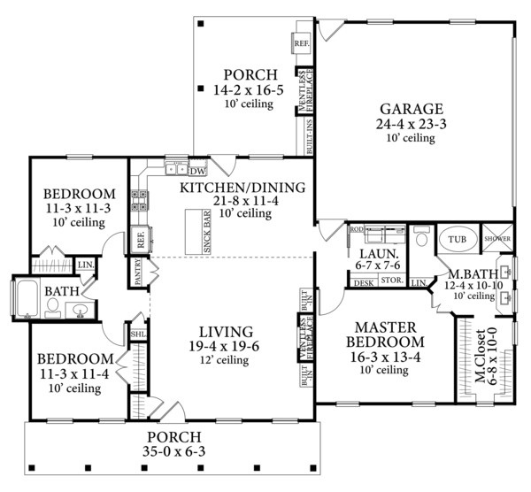 Cottage Style House Plan 3 Beds 2 Baths 1599 Sq Ft Plan 406 9662 Cottage Style House Plans House Plans Farmhouse House Plans