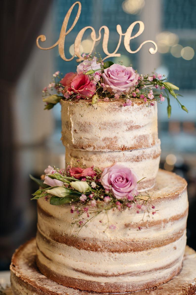 Love Cake Topper Gold Custom Cake Topper Gold Wedding