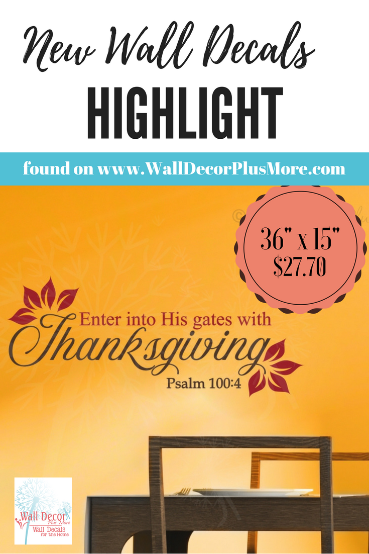 Enter His Gates with Thanksgiving Vinyl Letters Wall Decals Fall ...