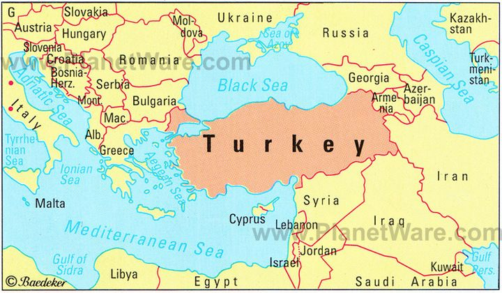 Map showing location of Turkey in the Middle East Turkey