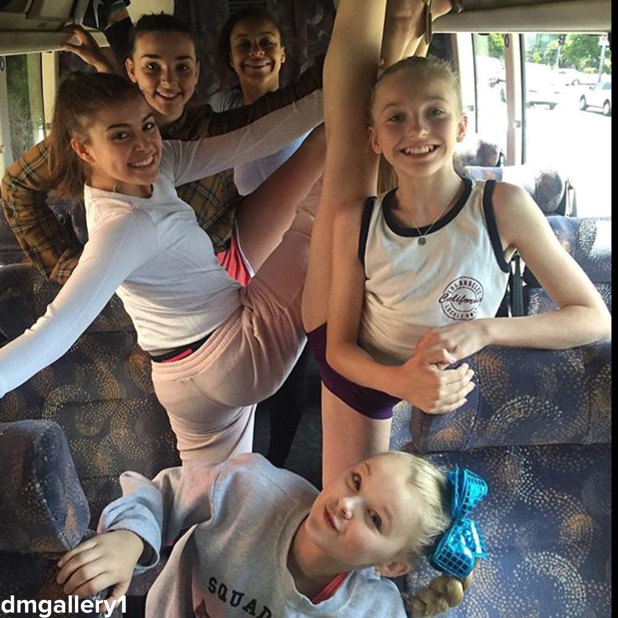 Brynn rumfallo stretching on the bus follow dmgallery1 dance jojo siwa kalani hiliker brynn rumfallo kendall vertes and nia frazier kristyandbryce Choice Image
