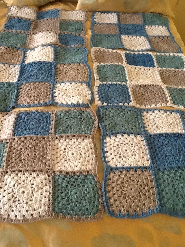 Crochet Baby Blanket Soft Brown and Teal