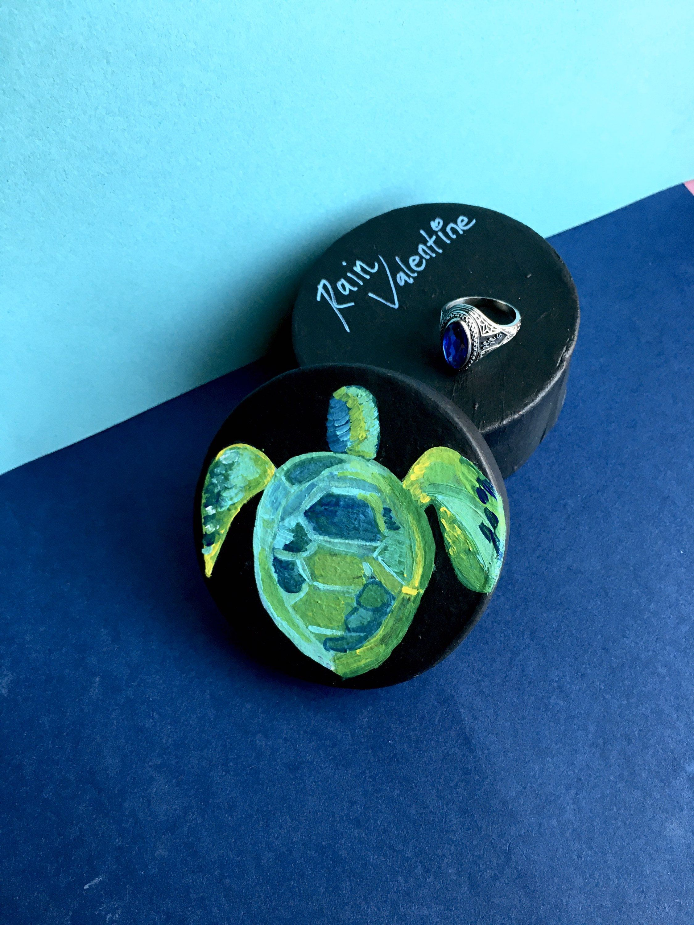 Sea Life Halloween 2020 Turtle Art Engagement ring boxTurtle Ring box Salty | Etsy in 2020