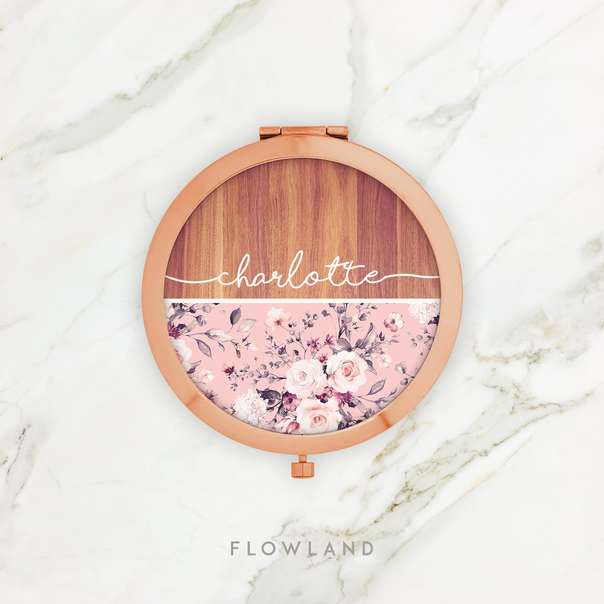 Pink Floral Rose Gold Compact Mirror Purse Mirror Pocket Etsy Personalized Bridesmaid Gifts Christmas Gifts For Friends Compact Mirror Personalized