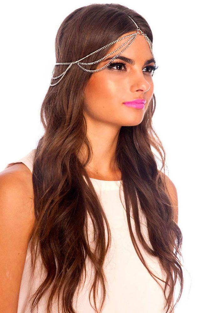 Women Gold Head Fringe Hair Band Piece Metal Side Waves Long Chain Rhinestones Jewelry & Watches Fashion Jewelry
