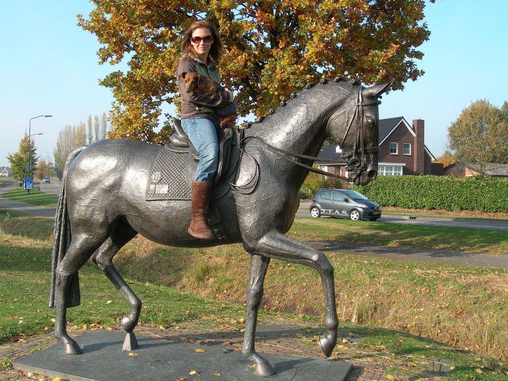 This girl and her dachshund got to ride Anky's Bonfire in Holland! Wow!